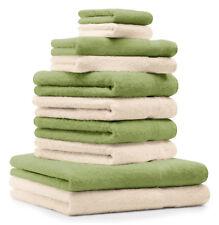 Betz lot de 10 serviettes Premium: vert pomme & beige, 100% coton