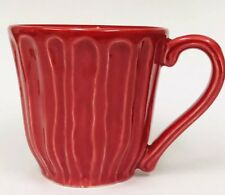 Starbucks Red Fluted Ribbed Made in Portugal Coffee Mug Cup 12 OZ