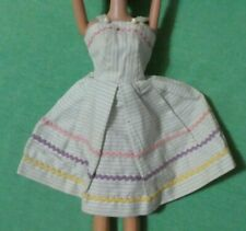 Vintage Barbie Doll Pale Blue and White HOMEMADE Sundress