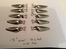 """(10) Nickel Plated Casting Spoon Rig/Lure 1 3/4"""", NOS, Made in U.S.A. Fishing"""