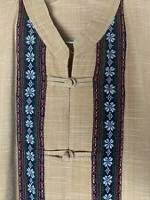 Vintage Embroidered Raw Linen Ethnic Shirt Boho Frog Buttons Guayabera Style