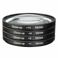 Universal 58mm Macro Close Up Filter Lens Kit +1 +2 +4 +10 for 58mm Camera Lens