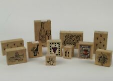 Lot of 11 Food And Drink Rubber Stamps - Wine, Champagne, Coffee