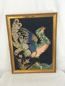 """Vtg 26 5/8"""" x 20 5/8"""" Wood Frame Chicken Rooster Wall Hang Needlepoint Art"""
