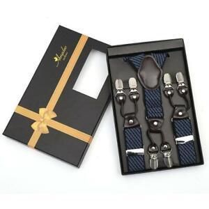 Blue Lines Dual Clip On Elastic suspenders for Men - Adjustable Y Straps For Wor
