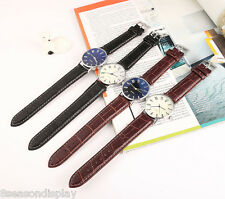 FL Unisex Fashion Blue Numbers Dial Soft Leather Strap Quartz Wrist Watch