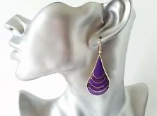 Beautiful 5cm long gold tone - purple & sparkly glitter teardrop shape earrings