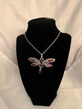 "Dragonfly Pendant Silver Toned Purple Enamel Necklace NWOT Unbranded 24"""