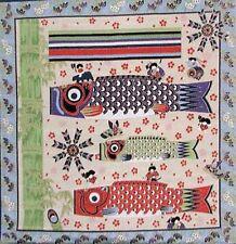 FLYING KOI CARP: Asian Japanese 100% Rayon Chirimen Fabric Panel