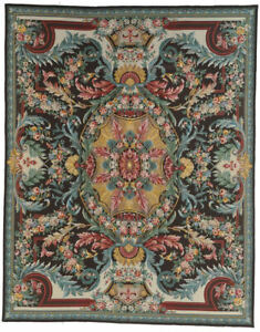 "8'""0 x 10' 0""  French Aubusson Needlepoint oriental area rug hand-knotted"