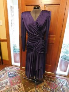 "STUNNING SILKY JERSEY ""FILIGREE"" PURPLE TOTALLY RUCHED MOTHER/DRESSY GOWN S 10"