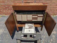 L👀K  ..:: Imperial Music Minder Walnut Rotating LP Record Album Storage Cabinet