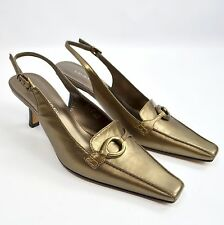 Laura Ashley Alexis Pumps Womens 7M Bronze Metallic Slingback High Heels Shoes