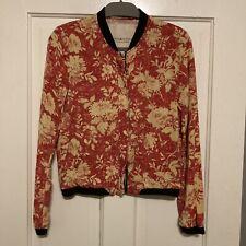 Denim & Supply Ralph Lauren Red Zip Jacket Floral Bomber Size Small S Tencel