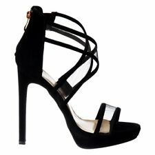 Womens Strappy High Heel Party Prom Bridal Wedding Shoes Sandals Black White