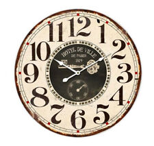 Clock French Country Vintage Wall Hotel De Ville Paris Wood Large 60cm New