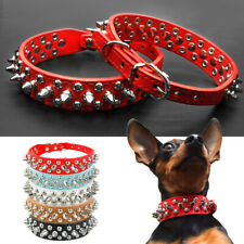 Spike Studded Pet Puppy Dog Collar Leather Adjustable Black Blue Brown Red White
