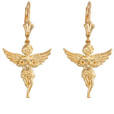 14K Yellow Gold Angel With Praying Hands Wings Drop/Dangle Leverback Earrings