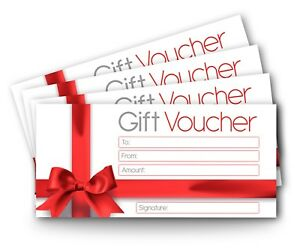 12 x Blank Gift Certificate Vouchers, DL Envelope Size, Money Gift Cards Red