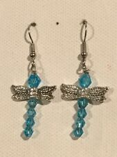 DRAGONFLY Earrings Surgical Hook New Crystal Teal Blue Iridescent