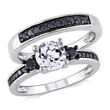 BLACK DIAMOND SAPPHIRE WEDDING ENGAGEMENT RING SET SZ 5  sz 6 sz 7 sz 8 sz 9 RD