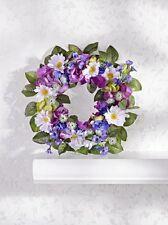 sehr schöner Tür-/Wandkranz, Weidenkranz mit lila Blumen, 28cm, neu