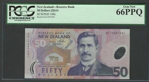 New Zealand 50 Dollars (2014) P188c Uncirculated Graded 66