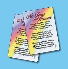 """No Tears In Heaven"" Memorial Poem - 2 Verse Cards - SKU# 710"