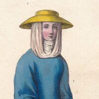 Portrait Paysanne XIVe siècle Guimpe Chapeau Paille Agricultrice Cultivatrice