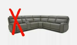 Kuka Gilman Creek Paisley Leather Reclining Sectional Sofa with Power Headrests