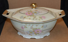 Victoria China Covered Vegetable Bowl - Vit 147 (Czech) - Multi Colored F;owers
