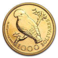 1975 Venezuela Gold 1000 Bolivares Cock of the Rock BU - SKU#149262