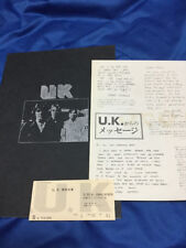 UK Japan tour book and ticket stub 1979 Tokyo John Wetton Terry Bozzio