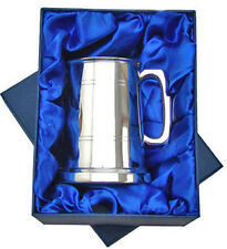 More details for mens one pint pewter tankard sheffield hand made luxury gift box engraved free