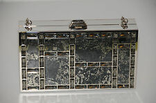 JUDITH LEIBER Chocolate Bar Silver Minaudiere Bag PYRITE Grey Crystals