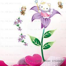 """Grand bonjour kitty&flower filles """"Décor Wall Stickers Vinyle Autocollant Papier Enfants"""