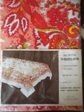 NEW Vintage Tablecloth Table Cloth Red Pink Orange Yellow Floral 52 x 67 Retro