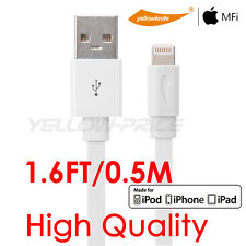 Apple Certified iPhone iPad Flat 8-pin Lightning to USB Cable Cord 1.6FT Charger