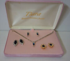 TIARA--Special Occasion Jewelry-Costume Jewelry set/box-Necklace, 3 earring sets