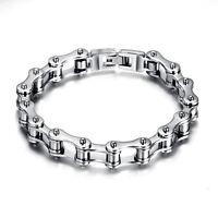 """Men's Motorcycle Biker Chain Bracelet Heavy Silver Stainless Steel 8.5"""" Bangl Ea"""