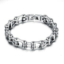 "Men's Motorcycle Biker Chain Bracelet Heavy Silver Stainless Steel 8.5"" Bangle X"