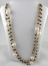"Honora Cultured White Pearl 9.0mm and Black Spinel 36"" Bronze Necklace"