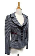 nanette lepore Blazer Houndstooth Knit Jacket Pink Velvet Black White Fit Small