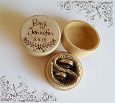 Personalised Rustic Burlap Hessian Wedding Ring bearer wooden round box custom