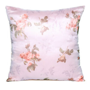 Satin Bed Pillowcase Soft 2Pcs Silk Bedding Throw Pillow Cover Solid Slipcover