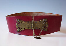 Vintage Wine Red Wide Riding Belt Women XS Oriental Motif Antique Penny RARE