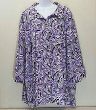 Maggie Barnes 5X Shirt Top Blouse Purple Geometric 34 36 Plus Size Button Front
