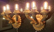 Antique pair Architectural Salvage Cast Gilded Plaster Triple Light Wall Sconce