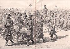 DÉFILÉ HIPPODROME LONGCHAMPS TURCOS RETOUR TONKIN 1886 GRAVURE ANTIQUE PRINT
