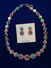 Calvin Begay  Necklace & Earrings Multi Color stones Navajo  Handmade